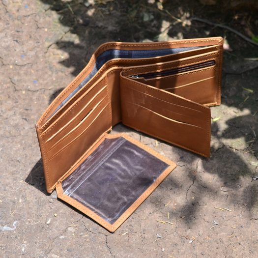 reverse flap leather wallet