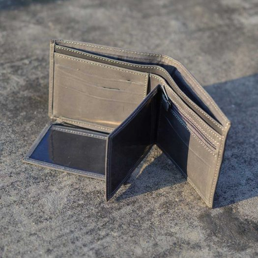 reverse flap wallet crazy horse grey