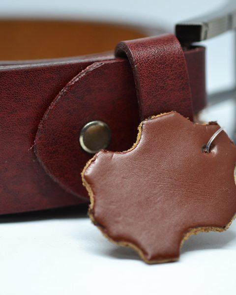 Genuine leather belt burgundy