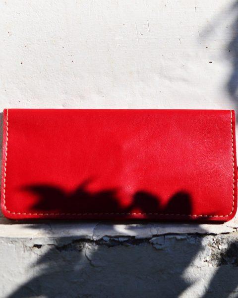 open edge plain long wallet red