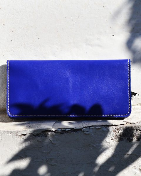 open edge plain long wallet blue