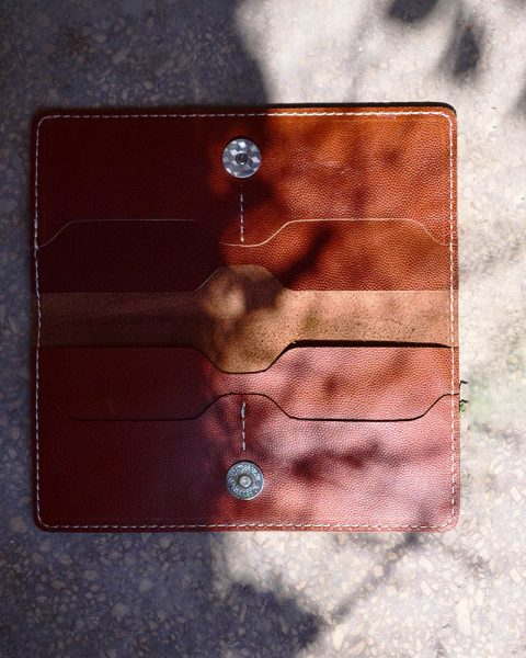 open edge long wallet milled rust
