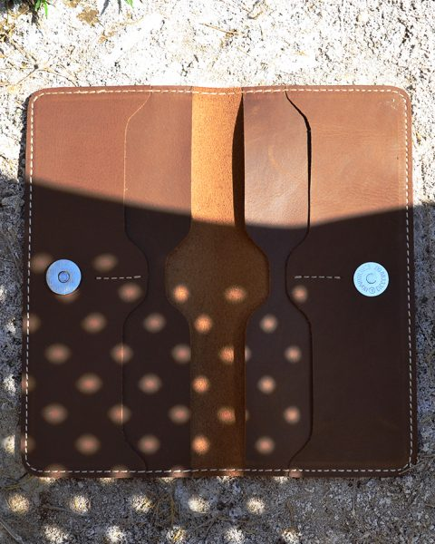 open edge crazy horse long wallet brown