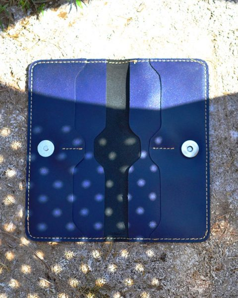 open edge crazy horse long wallet blue