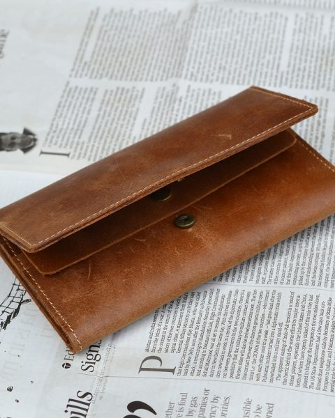 Crazy Horse long wallet light Brown