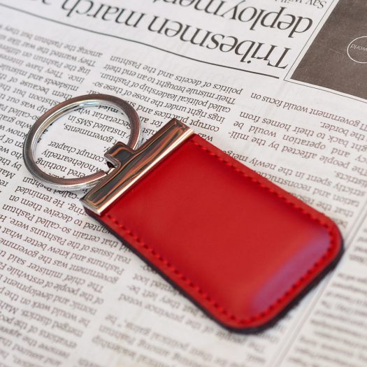 Executive leather keychain red