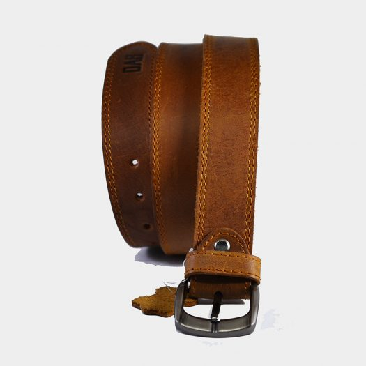 brown leather belt double stitch