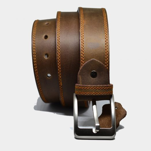 Double stitch leather belt 40mm