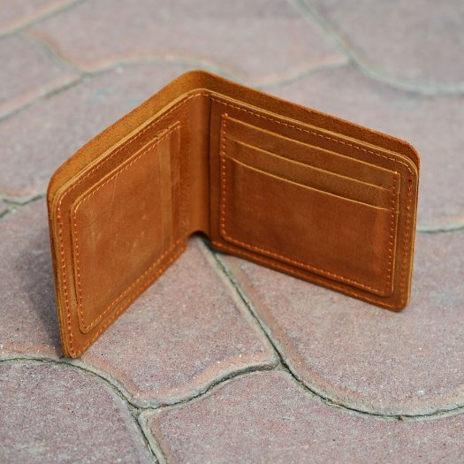 crazy horse leather wallet open edge brown