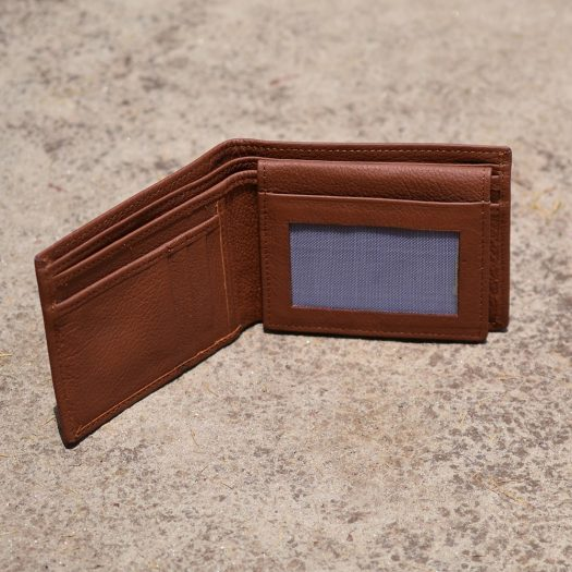milled leather wallet for men