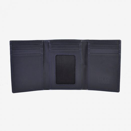 trifold leather wallet blue