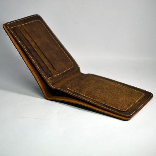 Open edge wallet brown pattern