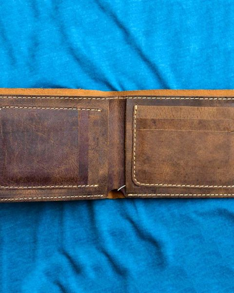 Open edge wallet brown pattern