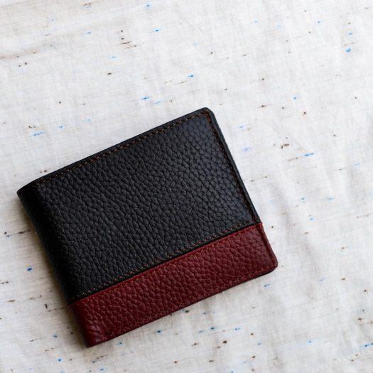 Bifold Wallet With Bottom Strip - Black/Brown