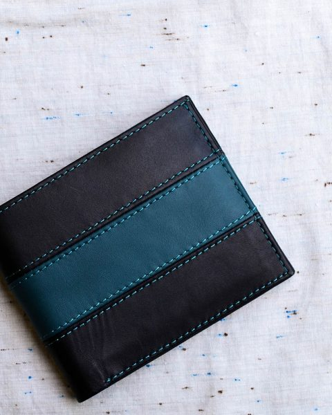 bifold wallet with broad strip teal
