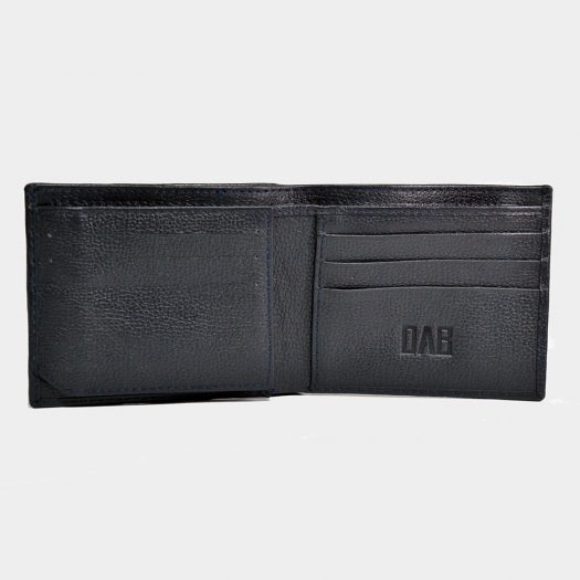 Bifold Milled Flap Wallet with ID Window – Blue