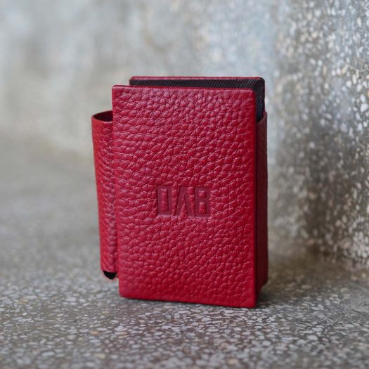 milled leather cigarette case red