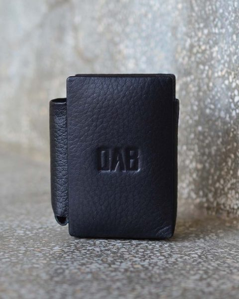 milled leather cigarette case black