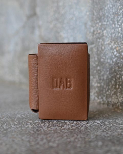 milled leather cigarette case light brown