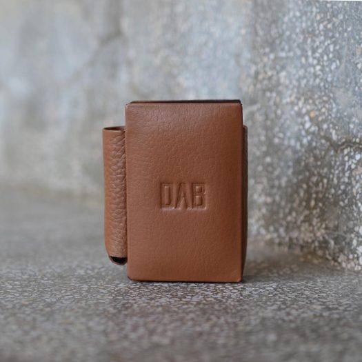 milled leather cigarette case light brown