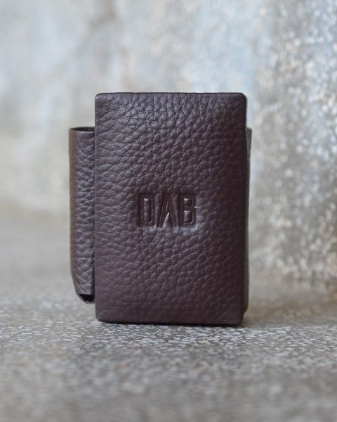 milled leather cigarette case dark brown
