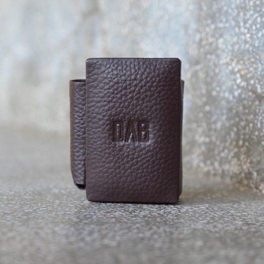 milled leather cigarette case dark brown