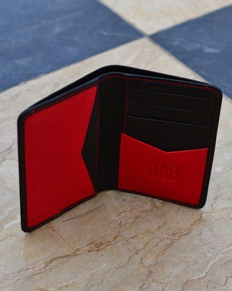 Billfold Leather Card Holder – Black/Red
