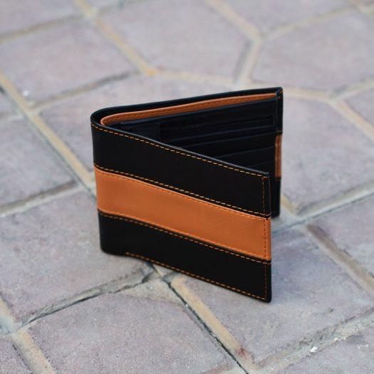 Bifold Wallet With Broad Strip - Black/brown