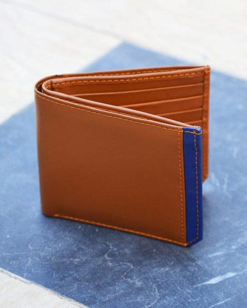 Bifold Wallet With Side Strip – Brown/Bluee