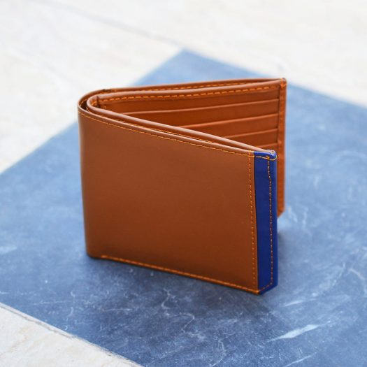 Bifold Wallet With Side Strip - Brown/Bluee