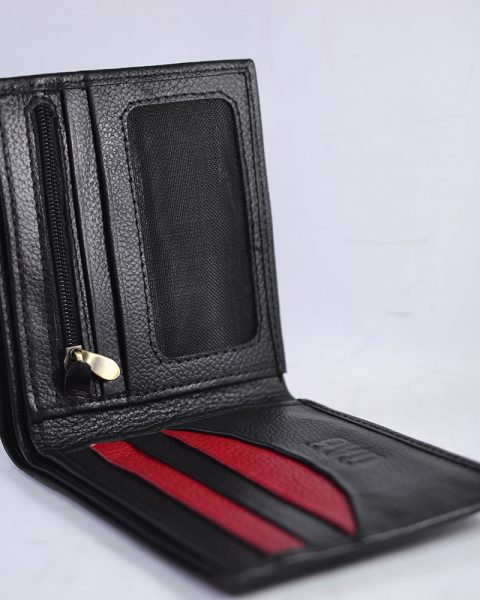 Bifold milled wallet – black/red