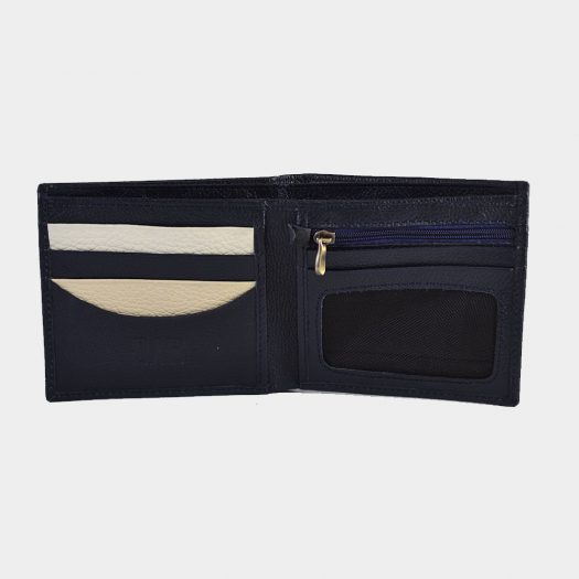 Bifold milled wallet - blue/white