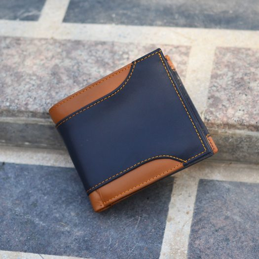 bifold wallet with side cut brown/blue