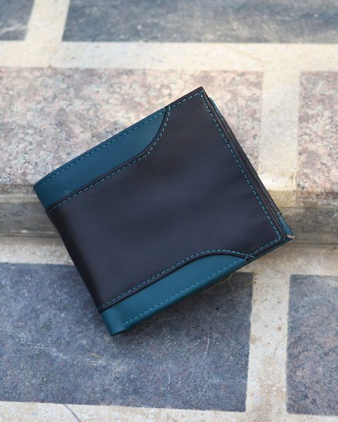 bifold wallet with side cut black/teal