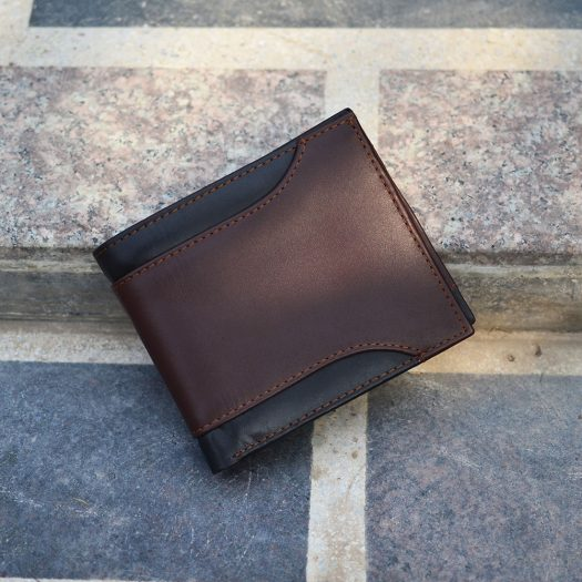 bifold wallet with side cut black/brown
