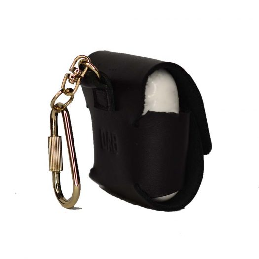 Black airpods leather case