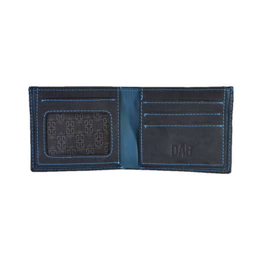 Pull up leather wallet - black/teal